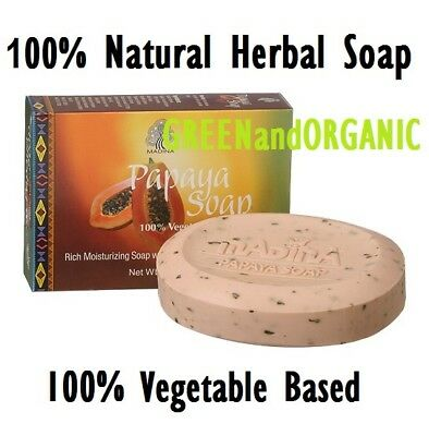 100% Natural PAPAYA SKIN WHITENING HERBAL SOAP  Shea Butter Castor Oil Green Tea