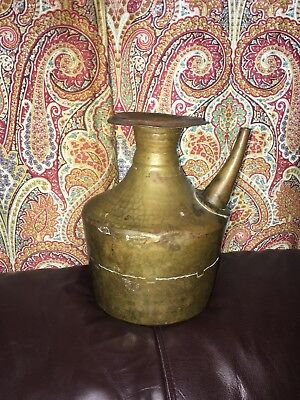 """Antique Hammered Brass Dovetail Seams Vase Water Pot 9.5"""" Tall Pre 1860"""