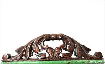 GOTHIC SCROLL LEAVES PEDIMENT Antique french hand carved wood crest cornice e