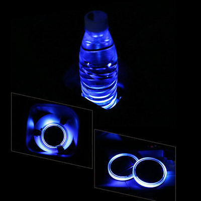 2PC Car Solar Cup Pad LED Light  Interior Decoration Bottle Drinks Accessories