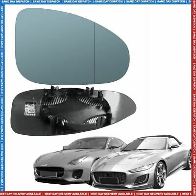 Jaguar F-Type Left Passenger wing mirror glass 13-19 side Wide angle Heated Blue