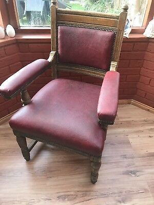 Edwardian Leather chair . Leather seat, leather back and leather arms
