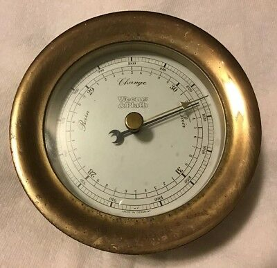 Vtg Weems & Plath Brass Barometer Marked Made In West Germany