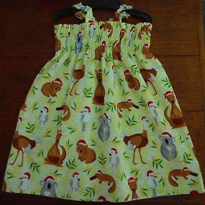 Sz 3 Christmas Aussie Cotton Dress Brand New Hand Made