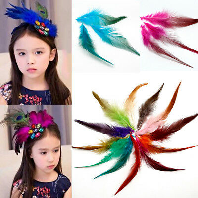 50Pcs Natural Fluffy Rooster Tail Handmade Feathers Craft Multi-color Selected