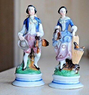 A Pair Of 19th Century German Hand Painted Porcelain Figures For Restoration.