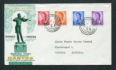 1975 First Qantas Flight cover Hong Kong (Rate $1.30 Mixed stamps) to Austria