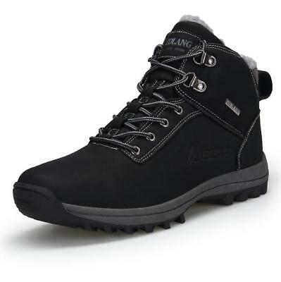 Mens Fur Lined Lace Up Boots Winter Combat Hiking Climbing Work Ankle Shoes