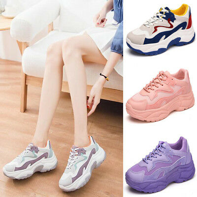 Womens Ladies Mesh Chunky Trainers Platform Dad Sneakers Runners Lace Up Shoes