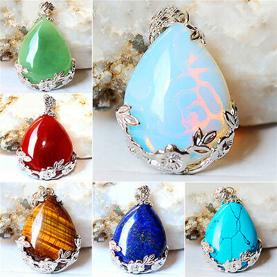 Natural Quartz Crystal Stone Teardrop Flower Healing Gemstone Pendant & Necklace