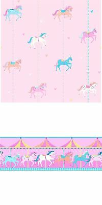 Carousel Childrens Girls Horses Pony Fun Fair Hearts Pink Blue Border Wallpaper