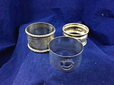 Antique Hallmarked Sterling Silver Napkin Rings x3 inc Chester Assay Mark