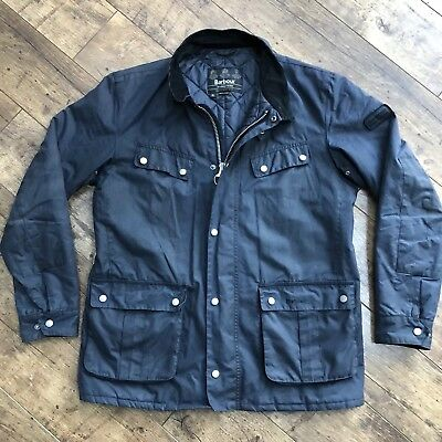 Men's Barbour Duke Navy Blue Quilted Wax Jacket XL!