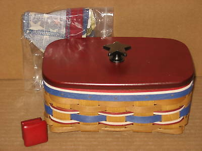 Longaberger American Celebrations Caddy Basket with protector liner & lid MINT!