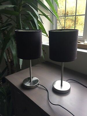 Pair of Black and Brushed Steel Lamps