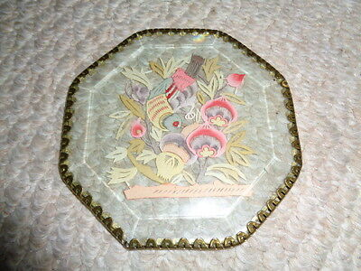 Two sided framed chinese cut out bird flowers green leafs brass edge framed