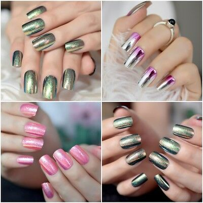 Holographic Chameleon False Fake Nails Mirror Holo Mirror Holo Laser Square Nail