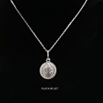 95ede2c2531 PENDANT MEDAL SAN BENITO SILVER STERLING with CRUZ s san Benito 12 mm and  CHAIN