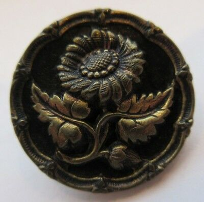 "Lovely Antique~ Vtg Victorian Metal Picture BUTTON Flower w/ Ornate Rim 1"" (L)"