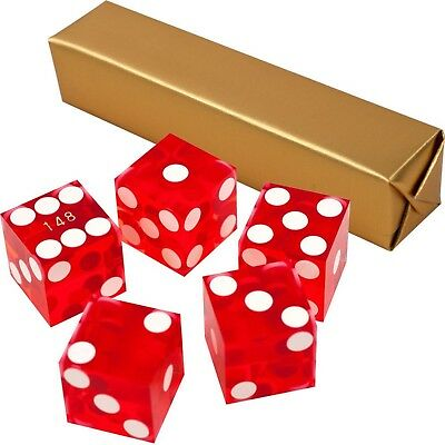 19mm A Grade Serialized Set of Casino Dice-Red Craps Yahtzee Five Dice
