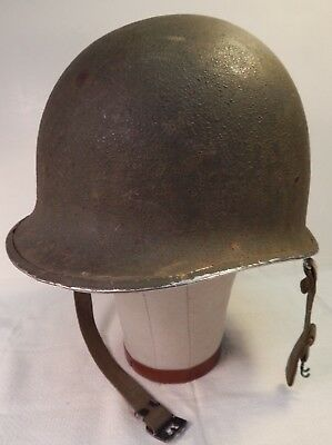 WWII U.S. Army M1 Combat Helmet, Front Rim Seam, Swivel Bales, with WWII Liner