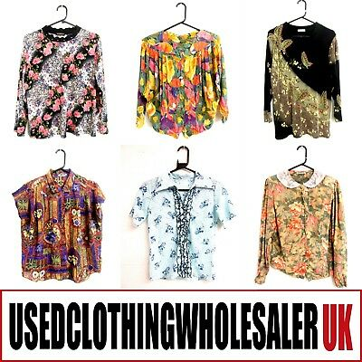 36 WOMEN'S VINTAGE PATTERNED 70's 80's TOPS BLOUSES WHOLESALE CLOTHING FASHION