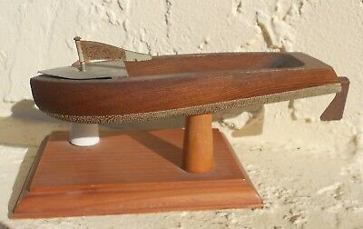 Vintage Wooden Folk Art Diorama Toy Motor Boat Speedboat & Lighthouse Model