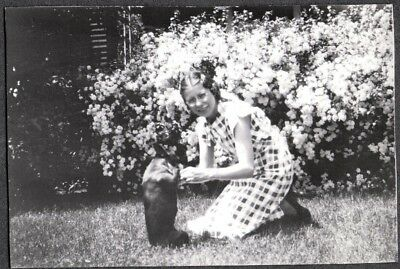 Vintage Photograph 1930-40S Girls Fashion Boston Terrier Dog Puppy Pup Old Photo