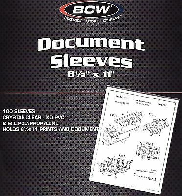 300  BCW 8.5X11 Sleeves Document Photo Menu