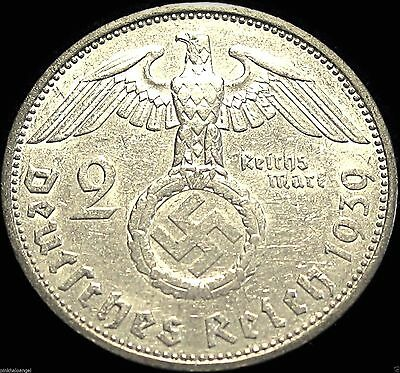 German Third Reich  German 1939F Silver 2 Reichsmark Coin