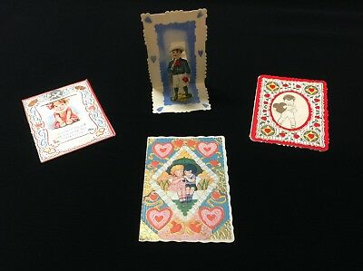 Vintage 1920's-30's Valentines, Fold Down, Stand Up, Germany, USA Lot of 4