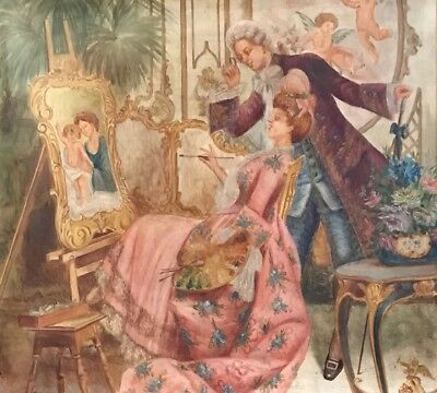 French School Oil - Elegant Figures In Rococo Style Salon Room Artist Painting