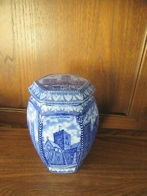 Maling 1930's for Ringtons Large Lidded Jar featuring Abbeys/Cathedrals/Minsters