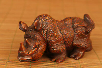 Antique rare Big Old Boxwood Hand Carved Rhinoceros statue Japanese Netsuke deco