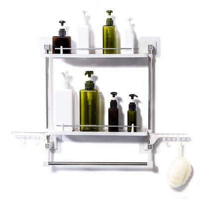 Bathroom Shelf No Drilling 2 Tiers with Towel Rack and Hooks Kitchen Storarage