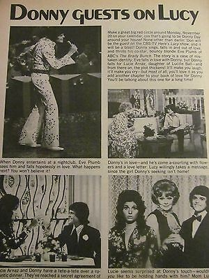 Donny Osmond, The Osmonds Brothers, Darby Hinton, Full Page Vintage Clipping