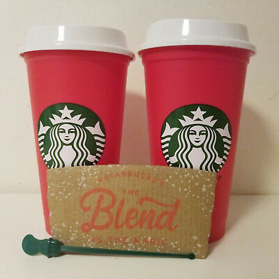 2 Starbucks 2018 Limited Edition Red Reusable 16oz Traveler Drinking Cup XMAS
