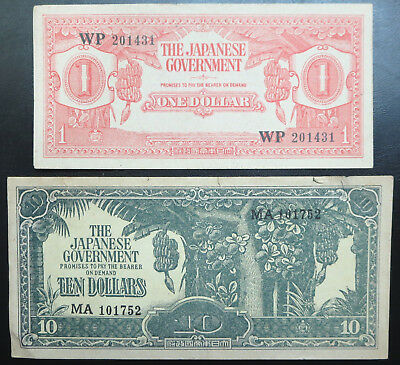 2 Japanese occupation of Malaya $1 $10 banknotes with numbers, fantasy issue