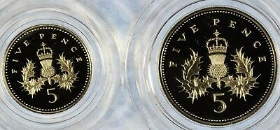1990 U.K. FIVE PENCE Two-Coin Silver Proof Set W/OGP (b455.12)