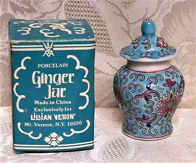 """Cute VINTAGE MINI CHINESE ASIAN PORCELAIN 3"""" GINGER JAR W/ LID New Old Stock"""
