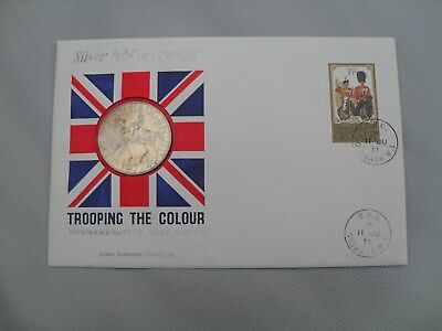 ROYAL SILVER JUBILEE 1952-1977 - First Day Cover stamp and coin TROOPING COLOUR