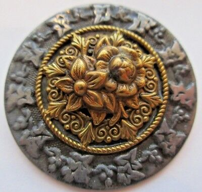 Exceptional X LARGE Antique Victorian Metal Picture BUTTON Floral Design (L)