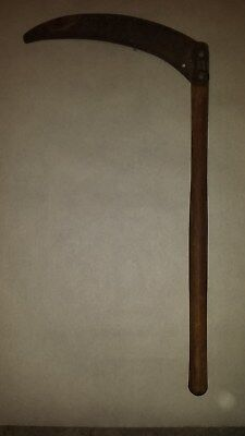 Vintage Antique Hand Scythe Sickle Primitive Farm Tool Wood Handle Curved Blade