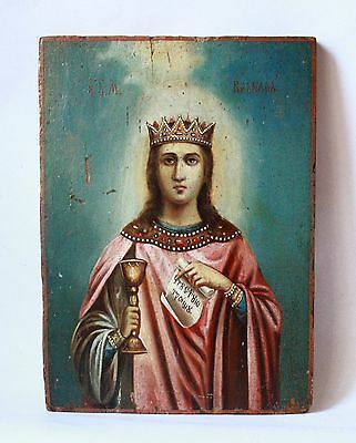 Antique 19th C Russian Hand Painted on Wood Panel Icon of Saint Barbara