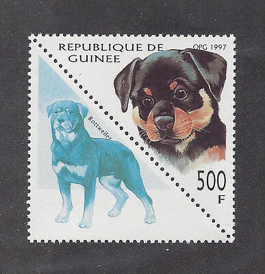 Dog Art Pup Head & Adult Body Portrait Postage Stamp ROTTWEILER Guinea 1997 MNH