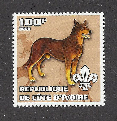 Dog Art Body Portrait Postage Stamp BEAUCERON BERGER DE BEAUCE Cote D'Ivoire MNH