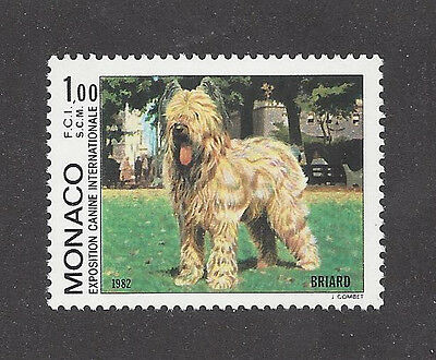Rare Dog Art Full Body Portrait Postage Stamp BRIARD Sheepdog Monaco 1982 MNH
