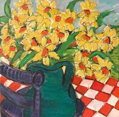 Pamela Cawley - Large Impressionist Oil Painting - Daffodils In Green Vase
