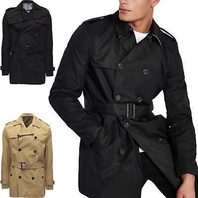 New Mens River Island Double Breasted Trench Coat Mac Belted Jacket RRP £70