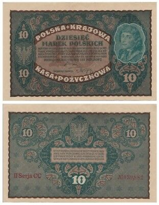 Ten Polish Marks banknote issued in 1919 CC aunc